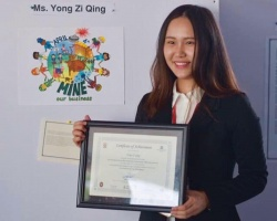 YONG ZI QING'S ARTWORK GRANTED SPONSORSHIP TO ATTEND THE INTERNATIONAL DAY FOR MINE AWARENESS AND ASSISTANCE IN MINE ACTION IN PHNOM PENH, CAMBODIA
